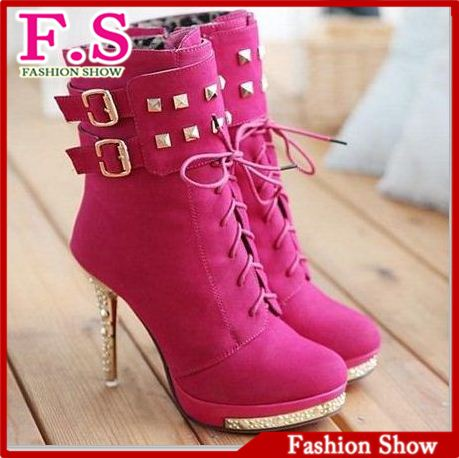 Fashion High Heel Ankle Boots Sexy Red Sole Rivets Women Shoes Buckle Diamond Heels Platform Boots AB146 Ladies Dress Boots-in Boots from Shoes on Aliexpress.com