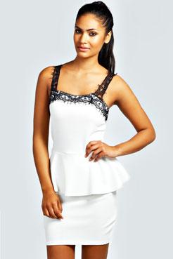 Marcia Lace Detail Peplum Dress at boohoo.com