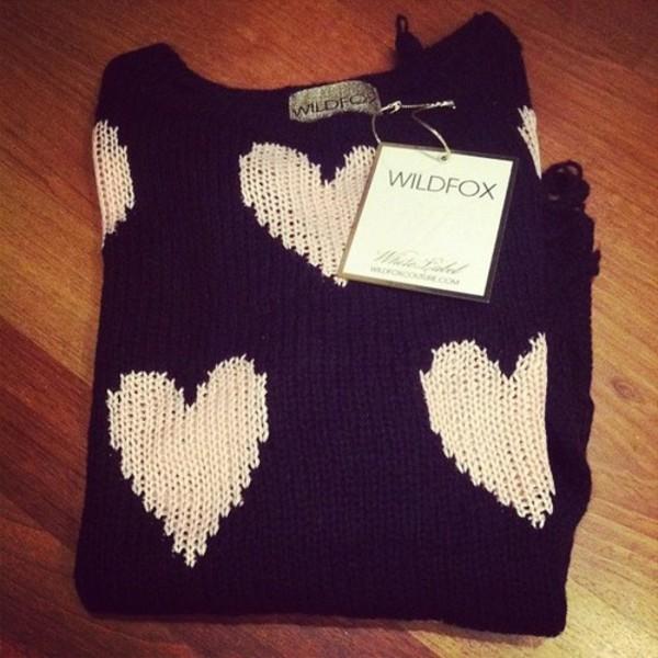 sweater black white heart heart sweater