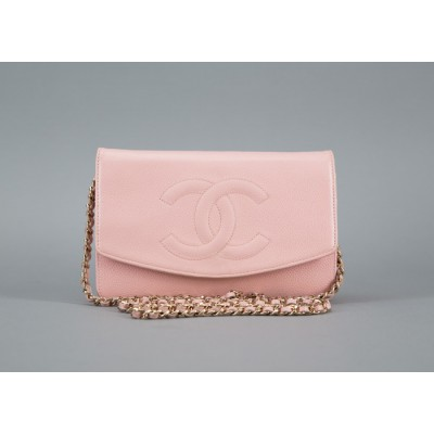 Chanel Pink Caviar Envelop WOC Wallet on a Chain Bag