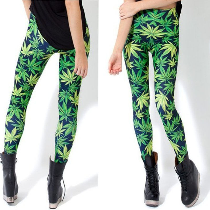 S XL Green Weed Lucky Maple Leaf Rock Punk Print Bodycon Leggings Tights Pants | eBay