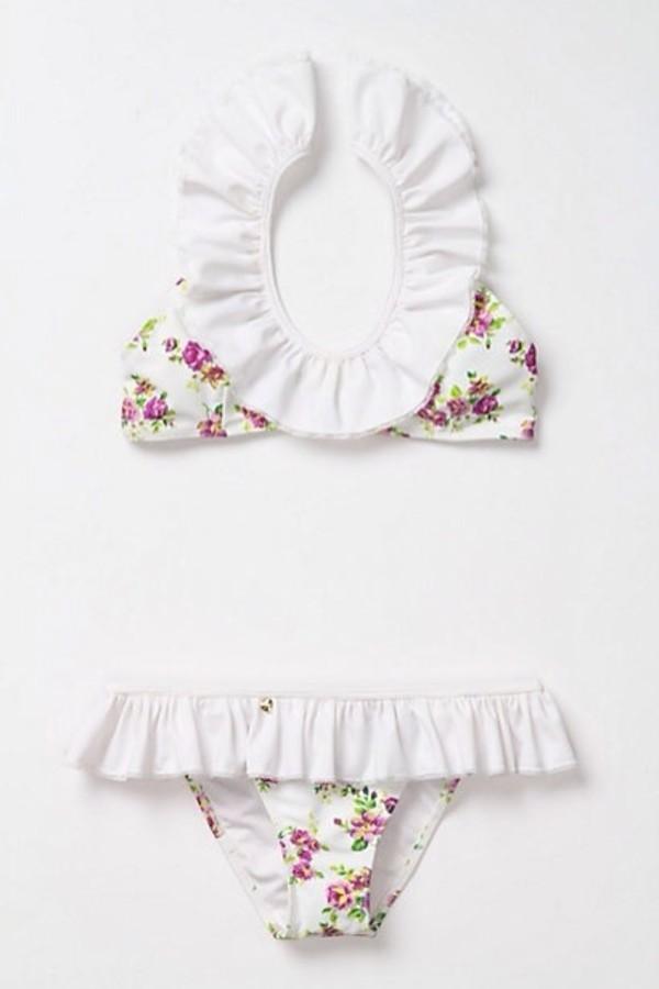 swimwear white bikini ruffle floral swimwear cute white ruffles ruffle