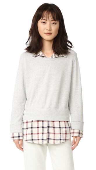top fashion clothes monrow double layer flannel plaid sweatshirt