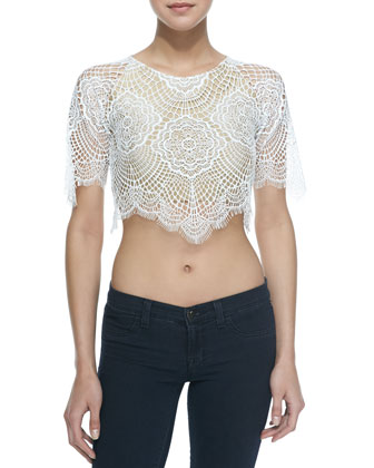 For Love & Lemons Grace Scalloped Lace Crop Top, White