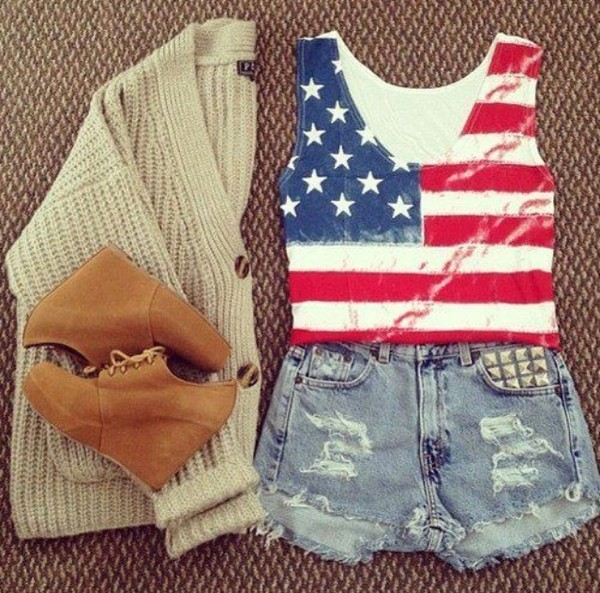 t-shirt american flag top blouse shoes