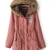 Pink Fur Hooded Long Sleeve Drawstring Coat - Sheinside.com