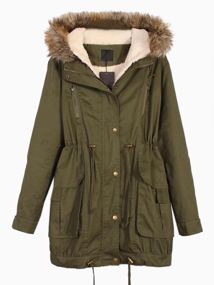 Hooded Parka With Fur Trim   Choies