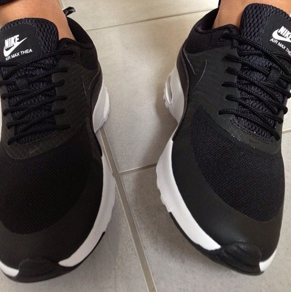 shoes nike fitness sportswear sneakers nike sneakers black white dress air max thea print