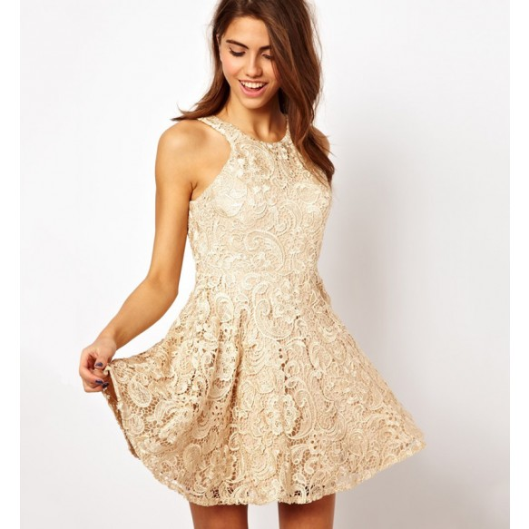 Racer Front Open Back Skater Dress In Floral Lace at Style Moi