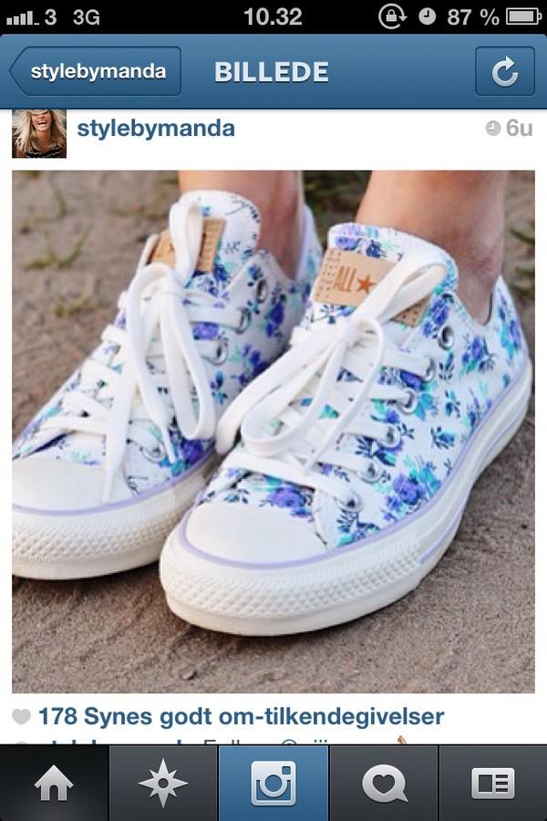 shoes converse flowers blue fashion summer