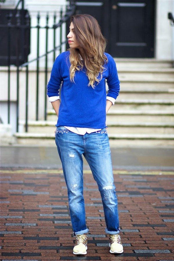 fadela mecheri sweater shirt jeans shoes