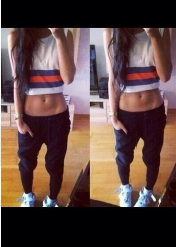 baggy pants dope crop tops pants fashion style top t-shirt
