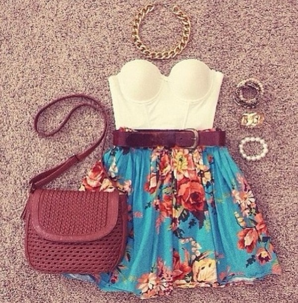 skirt blue skirt floral high waisted skirt skaterskirt shirt floral prints belt white top cute
