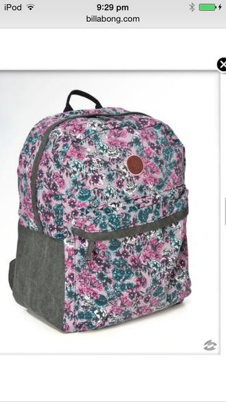 bag billabong gray pink and blue backpack