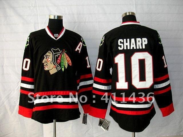 Blackhawks #10 Sharp Black Home Hockey Jerseys wholesale free & fast shipping Embroidery-in Sports Jerseys from Sports & Entertainment on Aliexpress.com