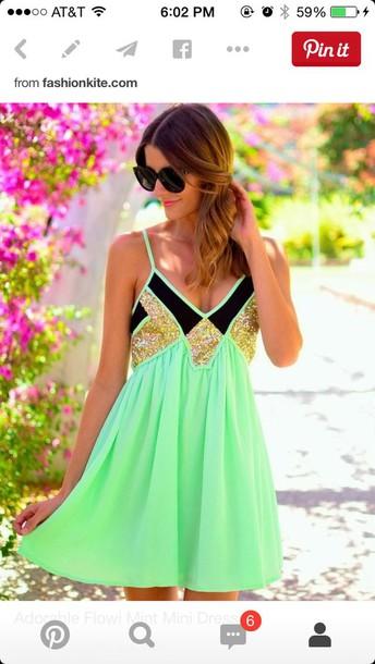dress dress neon sparkle sequins