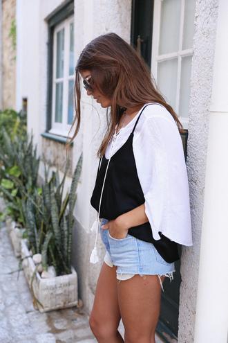 seams for a desire blogger tank top long sleeves white top denim shorts cami top
