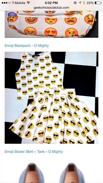 t-shirt emoji skirt and top