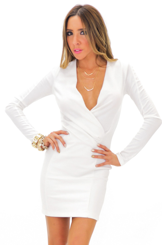 FRANCI DEEP-V BODYCON DRESS - White   Haute & Rebellious