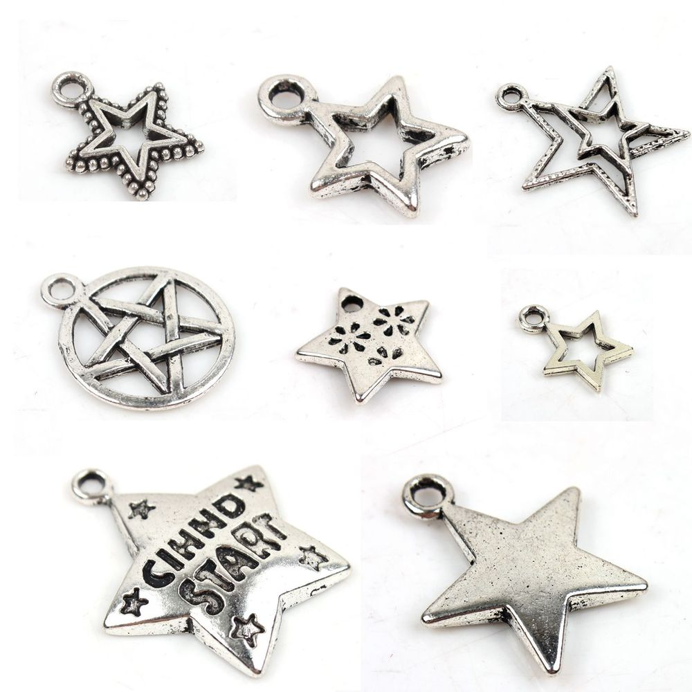 Free SHIP Lots 16 Mixed Star Tibetan Silver Bead Pendants Fit Bracelet 141370 | eBay