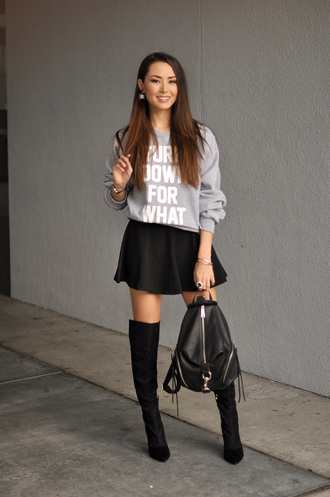 hapa time blogger circle skirt black skirt leather backpack grey sweater quote on it bag