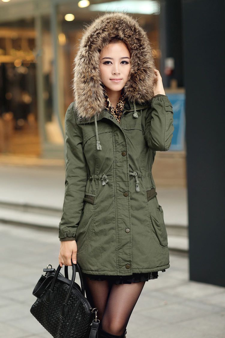Womens Winter Coats Faux Fur Lining Parka With Fur Hood In Green on Luulla