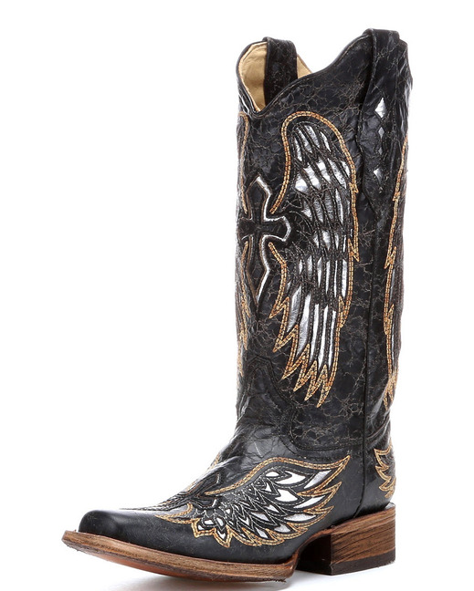 Corral Women's Distressed Black Winged Cross Silver Inlay Boot - A1986