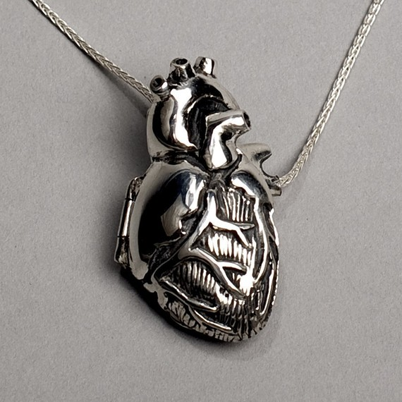 Original Silver Anatomical Heart Locket 18 by PeggySkempJewelry