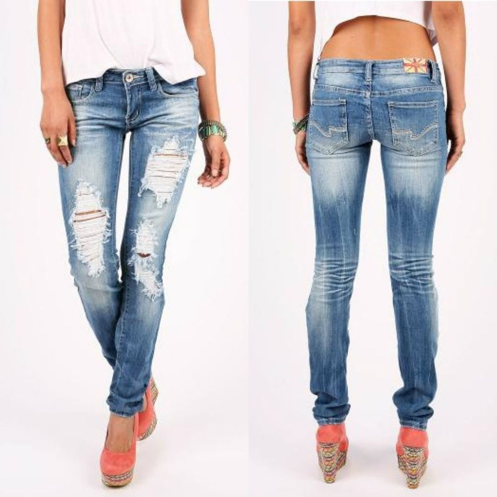 Machine Jeans Destroyed Ripped Distressed Women Skinny Jean New DMP 1A1653 | eBay
