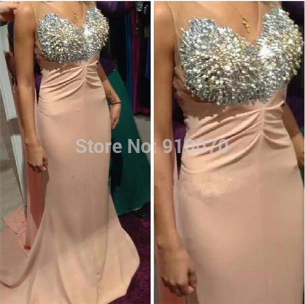 dress crystals prom dress party dress beaded prom dress