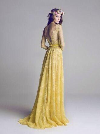 dress yellow lace bohemian dress long dress yellow dress