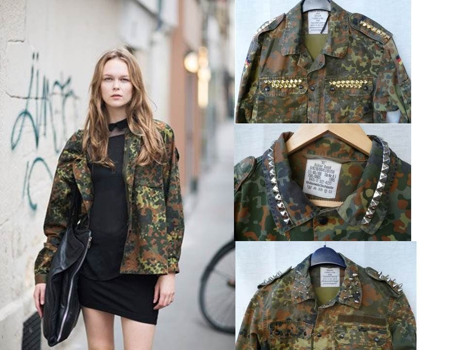 Vintage Military Camouflage Camo Jacket Studded Shoulders s M L   eBay