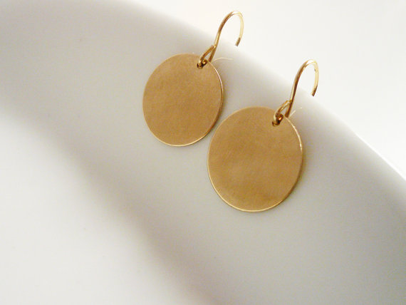 Large Simple Gold Circle Drop Earrings in Gold by roundabout
