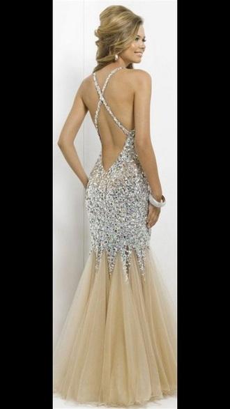 dress prom rose gold backless fishtail fashion