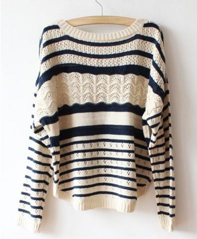 Beige Batwing Sleeves Sweater in Stripe Print
