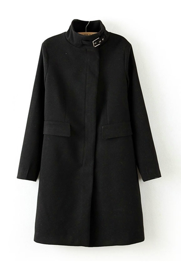 Belted Collar Masculine Woolen Coat in Black [FEBK0214] - PersunMall.com