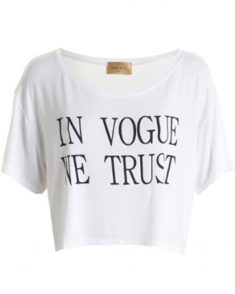 In Love With Fashion - LOU LOU White 'In Vogue We Trust' Crop Tee: Amazon.co.uk: Clothing