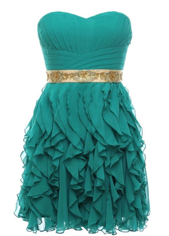 Flamenco Fantasy Dress | Strapless Green Ruffled Prom Dresses | Rickety Rack