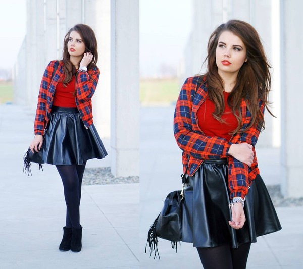 a piece of anna jacket skirt sweater shoes bag
