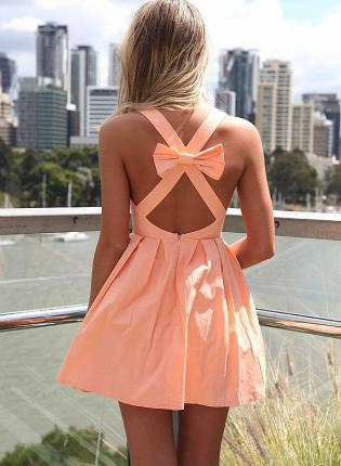 Orange Mini Dress - Light Orange Sleeveless Mini Dress   UsTrendy