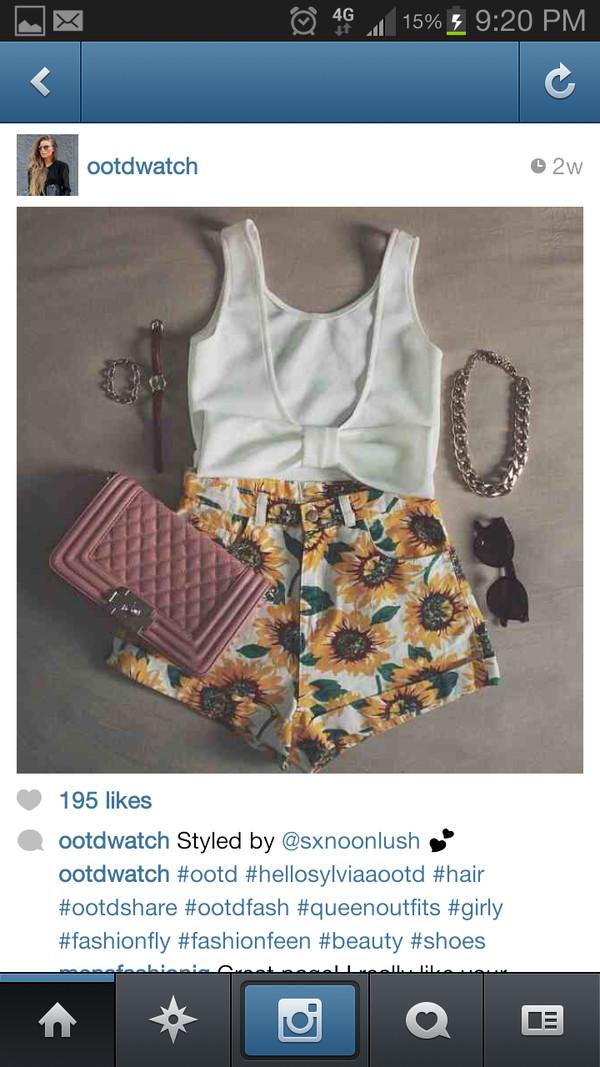 blouse shirt sunflower shorts american apparel bow cute