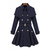 Wholesale Double-Breasted Worsted Fashionable Style Long Sleeves Turn-Down Collar Coat For Women (NAVY,M), Jackets & Coats - Rosewholesale.com
