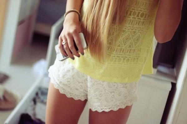 shorts yellow girl cool fashion yellow top summer white shorts tank top yellow tank top lace lace shorts white shirt crochet shorts aztec yellow t-shirt top indiana