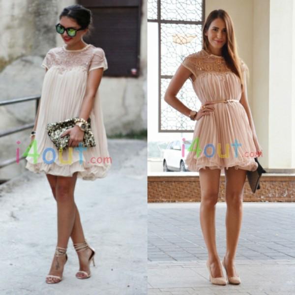 Women Short Sleeve Rhinestones Lace Pleated Chiffon Dress   eBay