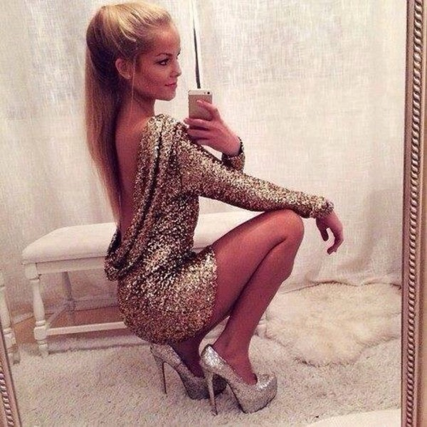 dress brillant gold silver mini dress party dress prom dress night sexy fashion high heels nude shoes