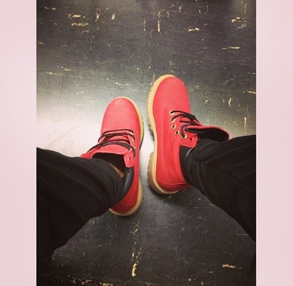 shoes timberlands red boots
