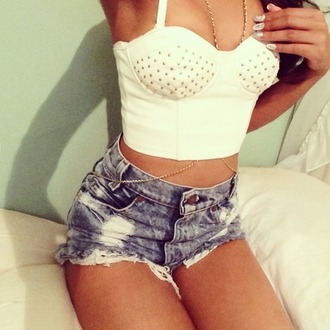 shirt gold studs shorts denim bralette crop tops body chain blouse white summer jewels t-shirt tank top glamour sjorts acid wash rhinestones