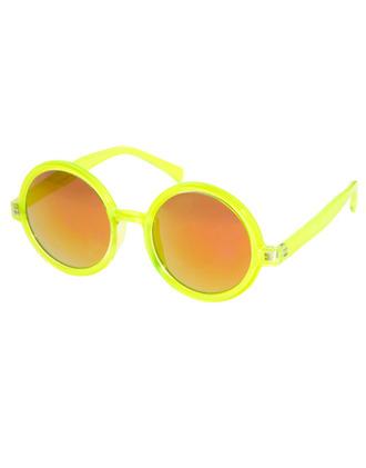 sunglasses neon yellow glasses round pot hippie