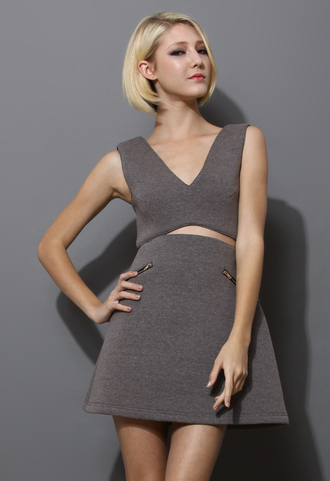 grey dress open front airy skater dress