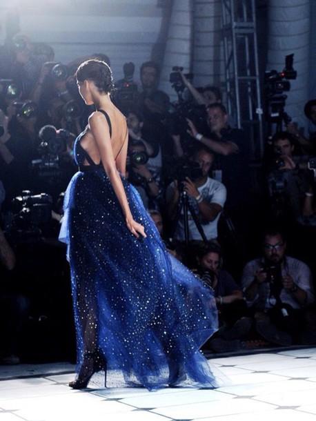 dress gliter deep blue prom dress
